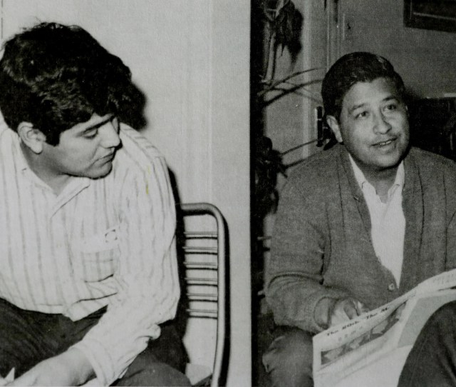 Jesus Salas Left And Cesar Chavez In Chicago In  Meet After The