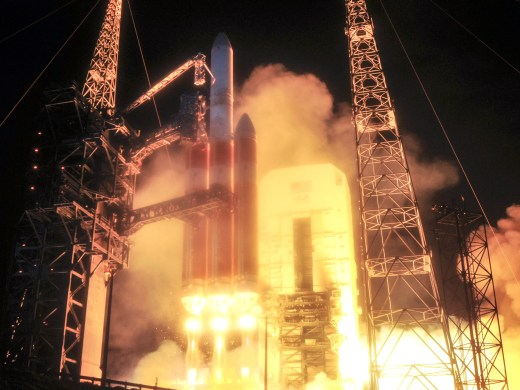 A United Launch Alliance Delta IV Heavy lifts off from Complex 37 at Cape Canaveral Air Force Station Sunday, August 12, 2018. Aboard the rocket is the Parker Solar Probe on a mission to the Sun.