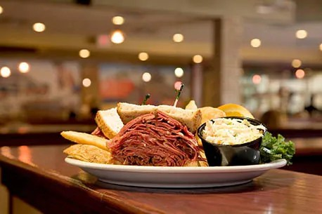 The mile-high corned beef sandwich at Chompie's.