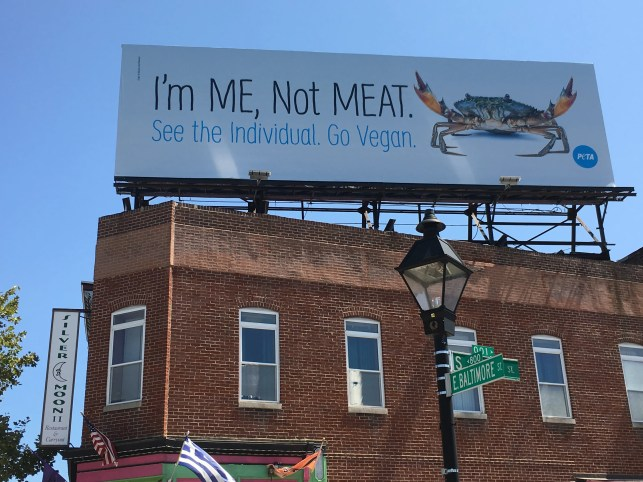 PETA billboard aims to convince crab-loving Maryland to stop eating the crustaceans
