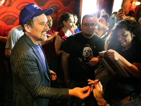 Actor and director Ethan Hawke signs autographs at Alamo Drafthouse Cinema Tuesday night.