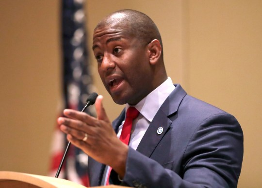 Democratic gubernatorial candidate Andrew Gillum speaks during a candidates forum hosted by the Florida League of Cities, Aug. 15, 2018, in Hollywood, Fla.