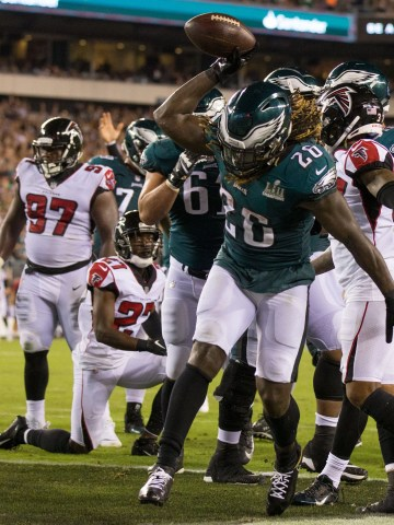 Sep 6, 2018; Philadelphia, PA, USA; Philadelphia Eagles running back Jay Ajayi (26) reacts to his touchdown against the Atlanta Falcons during the third quarter at Lincoln Financial Field. Mandatory Credit: Bill Streicher-USA TODAY Sports