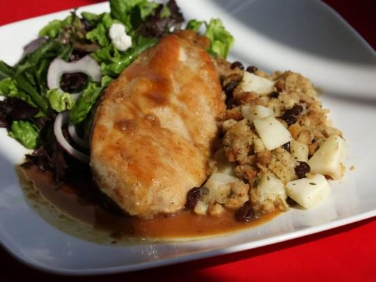 Cider-Glazed Chicken with Apple-Raisin Stuffing