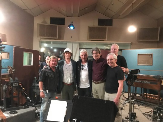 At the Sam Phillips Recording Service on Madison Avenue: Sam's son, Jerry Phillips; Mick Jagger; writer Anthony McCarten; studio manager Judd Phillips (nephew of Sam); Peter Guralnick; and (tall, in back of Guralnick) Steve Bing.