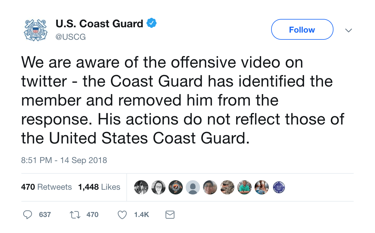 'offensive' Hand Gesture Gets Coast Guard Member Reassigned