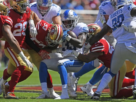 Detroit Lions' Kerryon Johnson is tackled in the first quarter against the San Francisco 49ers on Sunday, Sept. 16, 2018 at Levi's Stadium in Santa Clara, Calif.