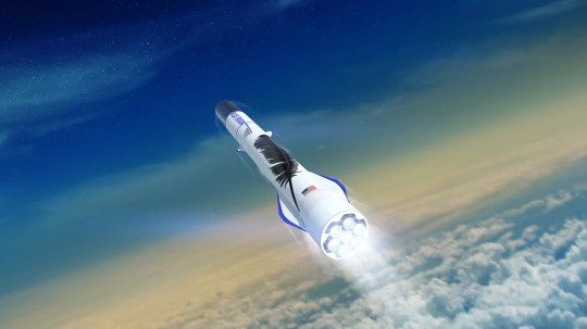 Artist rendering of Blue Origin's New Glenn orbital rocket blasting off, powered by seven BE-4 main engines.