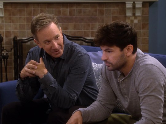 Conservative Mike (Tim Allen), left, jousts with his liberal son-in-law, Ryan (Jordan Masterson), on Fox's 'Last Man Standing.'
