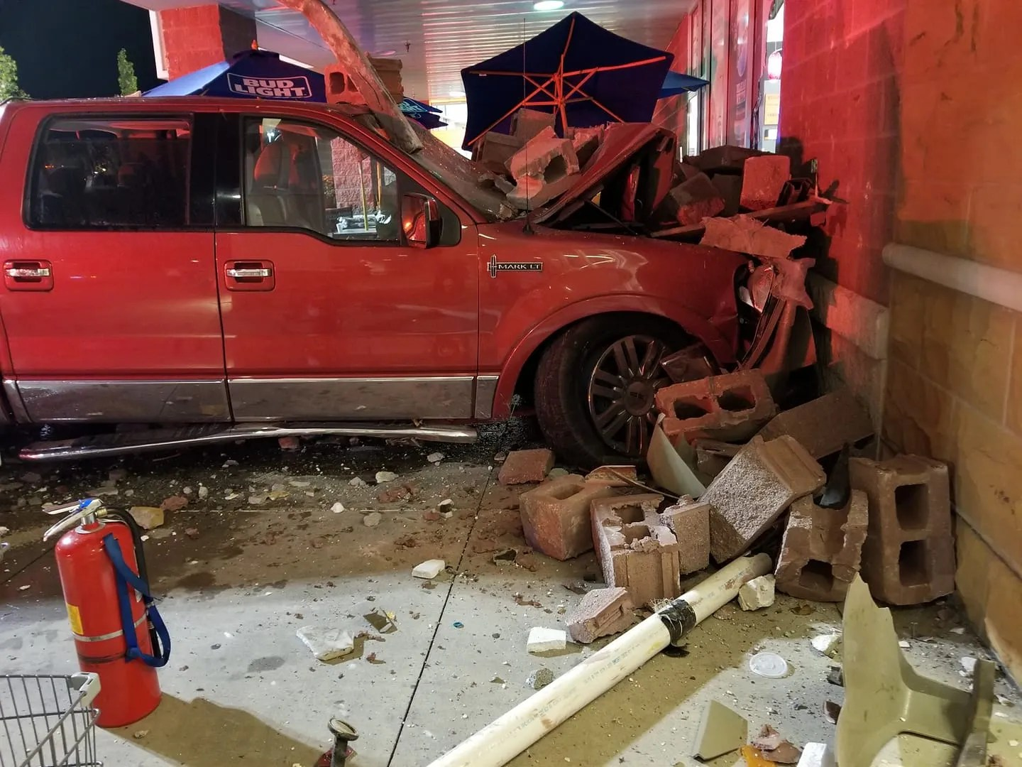 truck crashes into giant