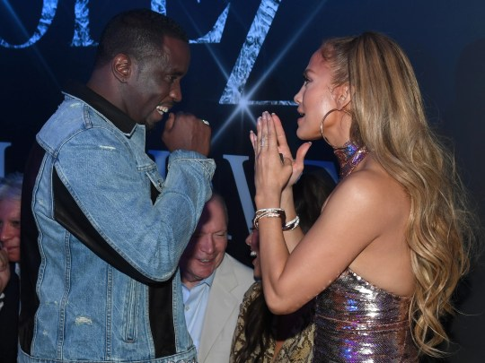 """Sean """"Diddy"""" Combs and Jennifer Lopez were all smiles at the party after the final show for Lopez's residency, All I Have."""