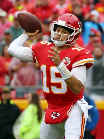Kansas City Chiefs quarterback Patrick Mahomes (15) throws a pass against the Jacksonville Jaguars in the first half at Arrowhead Stadium.