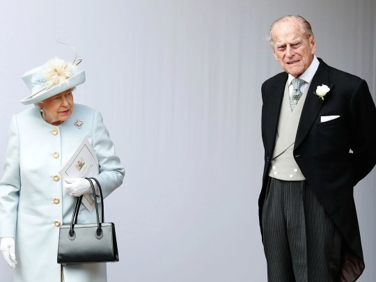 Queen Elizabeth II and her husband, Prince Philip, Duke of Edinburgh at the wedding of their granddaughter Princess Eugenie of York to her Jack Brooksbank, at St George's Chapel, Windsor Castle, in Windsor, on Oct. 12, 2018.