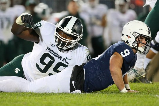 MSU's Raequan Williams signals to an official after lobbying Penn State quarterback Trace McSorley in the fourth quarter of 2018.