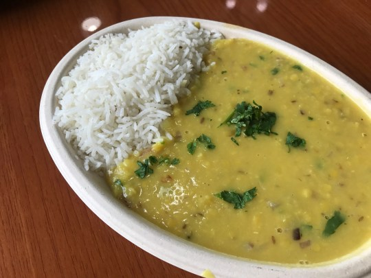 Vegan yellow dal with rice at Fresh Indian Grill, a quick-service restaurant at 1420 W. Main St., Suite D, in Carmel.