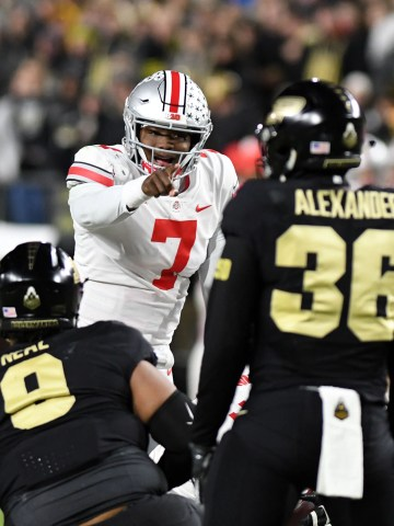 Ohio State Buckeyes quarterback Dwayne Haskins Jr. calls a play at the line in the first half against the Purdue Boilermakers at Ross-Ade Stadium.