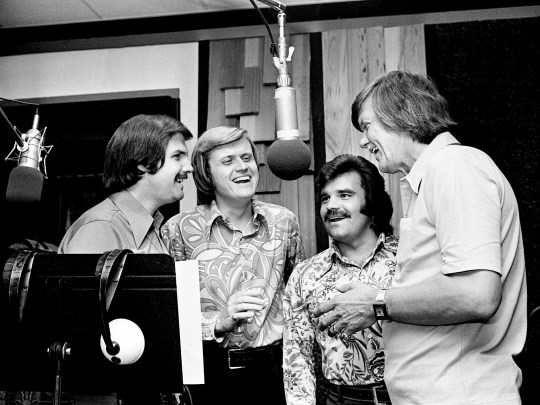 The Stamps Quartet featured (from left)  Bill Baise, Ed Enoch, Dave Rowland and J.D. Sumner. The gospel quartet, which performed and recorded with Elvis Presley, is seen  recording on June 13, 1973.