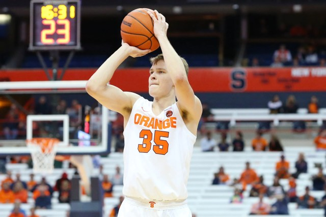 SYRACUSE, NY - OCTOBER 25:  Buddy Boeheim #35 of the Syracuse Orange shoots the ball against the St. Rose Golden Knights during the second half at the Carrier Dome on October 25, 2018 in Syracuse, New York. Syracuse defeated St. Rose 80-49. (Photo by Rich Barnes/Getty Images)
