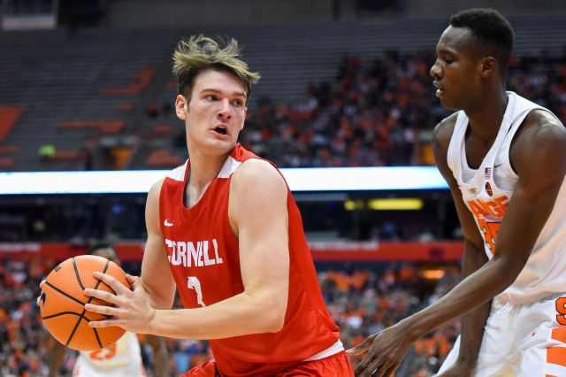Nov 10, 2017; Syracuse, NY, USA; Cornell Big Red forward Jimmy Boeheim (3) controls the ball as Syracuse Orange forward Bourama Sidibe (35) defends during the first half at the Carrier Dome. Mandatory Credit: Rich Barnes-USA TODAY Sports