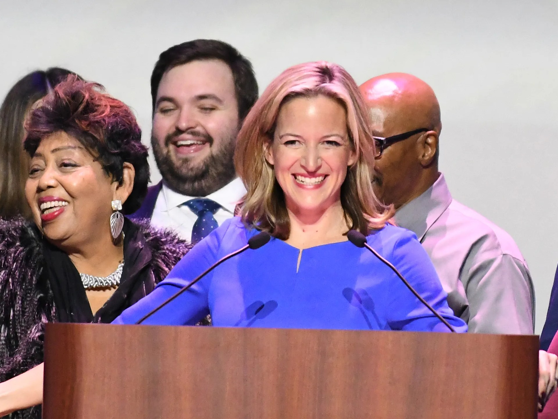 Secretary of State-elect Jocelyn Benson thanks her supporters during the Democratic Party election night party at the Sound Board theater at Motor City Casino in Detroit on Tuesday night.