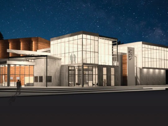 Rendering of a mock performing and visual arts center by Ball State architecture students, Conner Mullins, Cody Sutton and Cole Walters. On Dec. 6, the Fishers Arts Council and Ball State architecture students presented seven designs for a mock performing and visual arts center at Meyer Nejem gallery in Fishers.