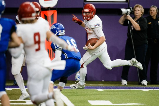 West Sioux, Hawarden's Hunter Dekkers (8) runs in for a touchdown to make the score 51-38 during their class 1A state championship football game on Friday, Nov. 16, 2018, in Cedar Falls. West Sioux, Hawarden would go on to beat Dike-New Hartford 52-38.