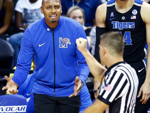 Memphis head coach Penny Hardaway (left) questions an officials foul call during action against the College of Charleston at the Advocate Invitational in Orlando Sunday, November 25, 2018.