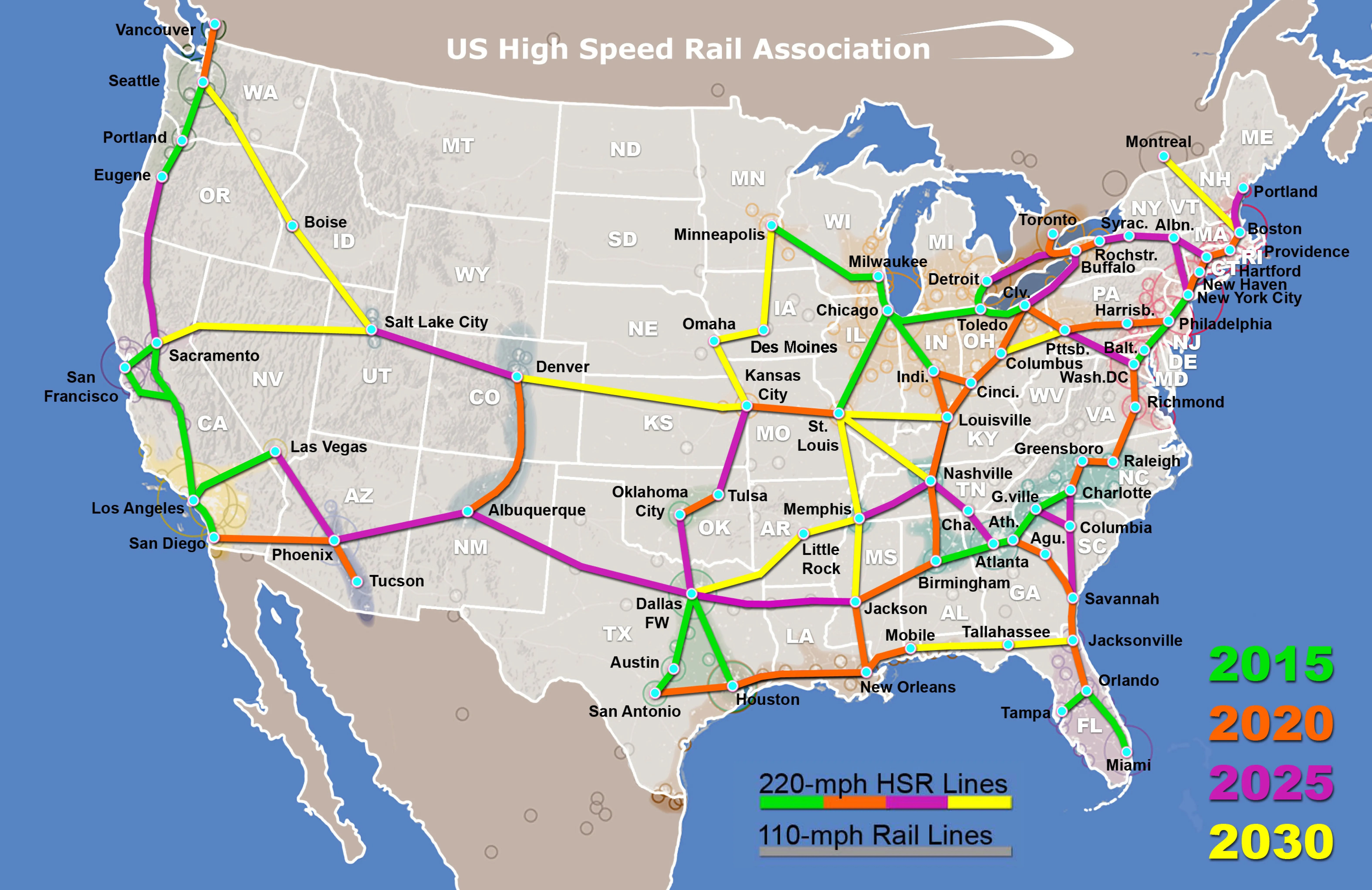 Map High Speed Rail possible in Tallahassee