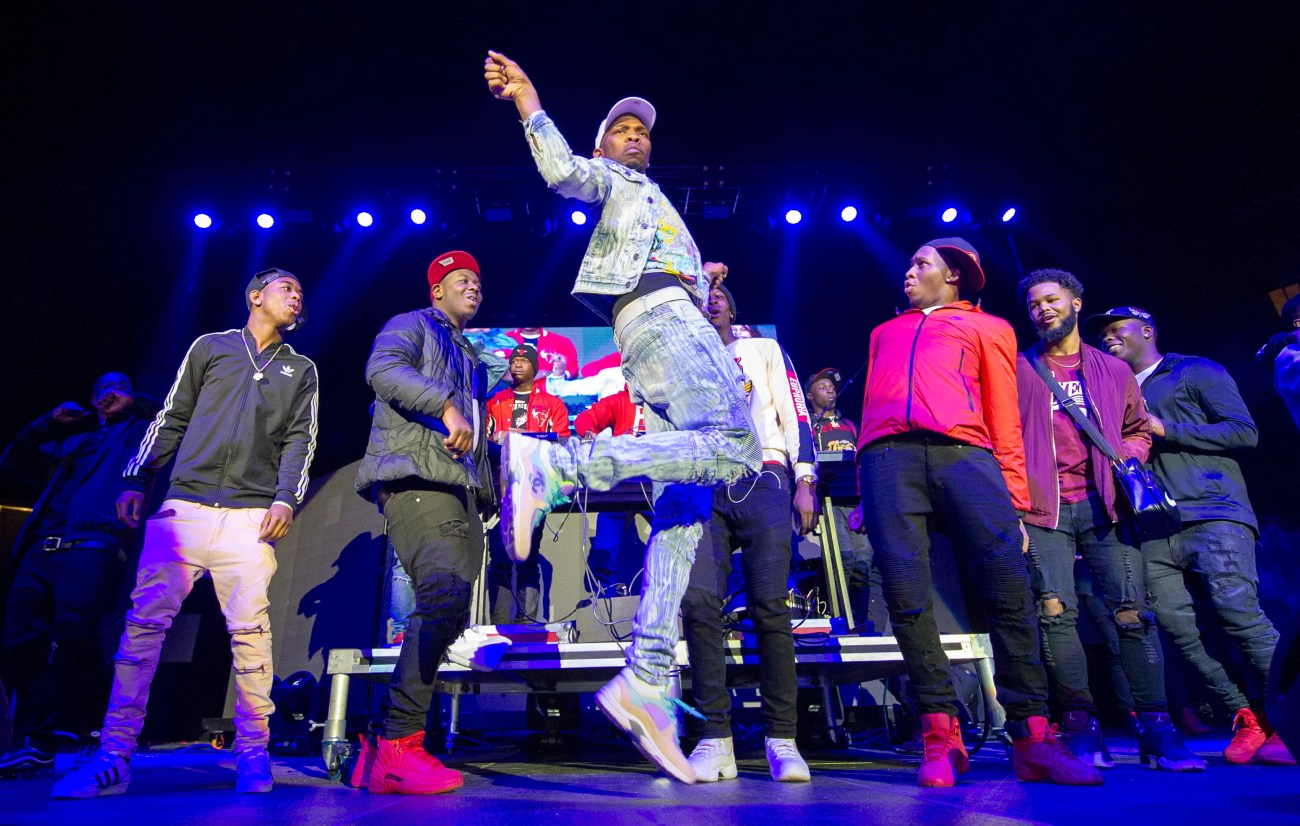 "BlocBoy JB performing his ""Shoot"" dance during a concert in Indianapolis on Dec. 9,2018."