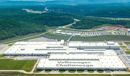 An overhead view of Volkswagen's plant in Chattanooga.