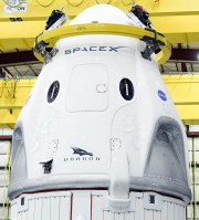 The SpaceX Crew Dragon capsule sits in its hangar at Kennedy Space Center. Mandatory Credit: Craig Bailey/FLORIDA TODAY via USA TODAY NETWORK