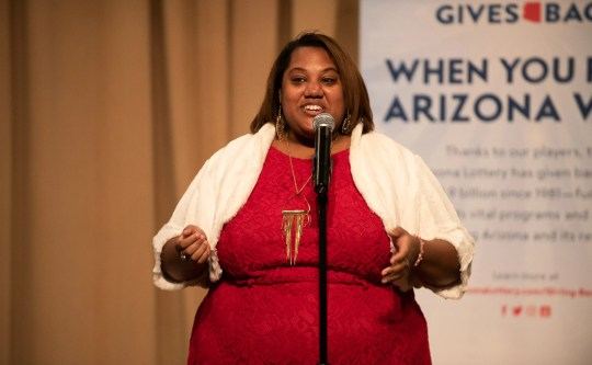 Elizabeth Montgomery tells her tale during the Arizona Storytellers Project Holiday Spectacular 2018 at the Arizona Biltmore  in Phoenix on Wednesday, Dec 18.
