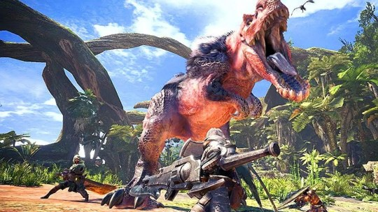 In the video game 'Monster Hunter: World,' you must band together to take down giant monsters.