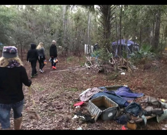 Volunteers deliver care packages and beanies to homeless camps in Palm Bay.