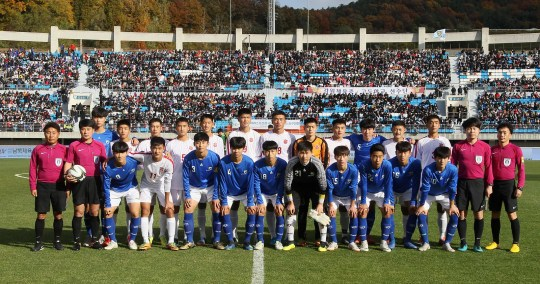 North and South Korean youth soccer teams meet at the Ari Sports Cup tournament in Chuncheon, South Korea, on Oct. 29.