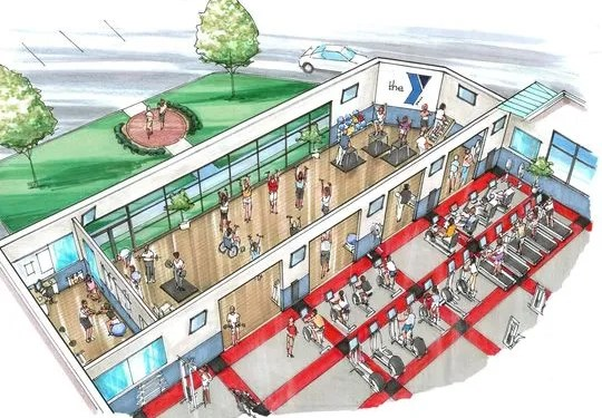 A rendering of the 2,000-square-foot expansion to the YMCA wellness center, in order to give members more space to stretch, lift weights and do their individual workouts.