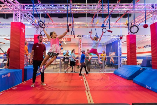 Ninja Nation, with locations in Colorado and Texas, offers show-quality obstacles like floating steps, a warped climbing wall and a salmon ladder, which requires competitors to climb by moving a pull-up bar up a series of angled rungs.