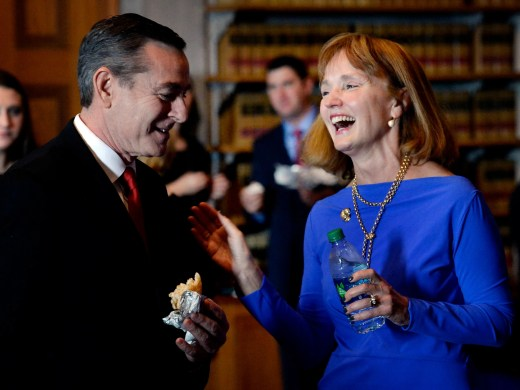 Glen Casada, R-Franklin, talks with Former Speaker of the House Beth Harwell, R-Nashville, before the House of Representatives opening day of the 111th General Assembly on Tuesday, Jan. 8, 2019, in Nashville, Tenn.