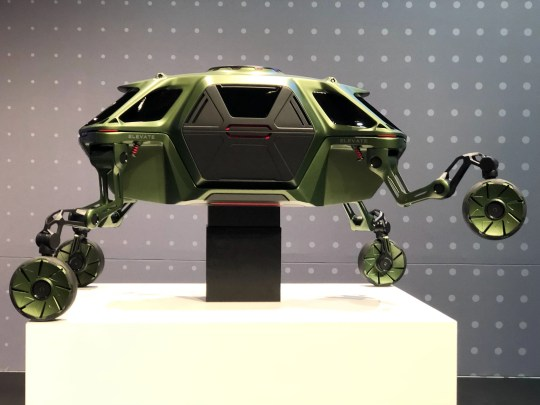 "The jointed legs allow the Elevate to ""drive, walk, or even climb over the most treacherous terrain,"" Hyundai says."
