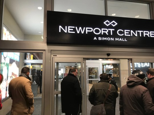 Police blocking an entrance to the Newport Centre mall in Jersey City, NJ on Friday, Jan. 11, 2019.