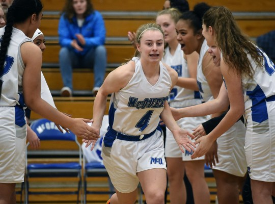 McQueen's Kendra McAninch is introduced at the start of a home game against Galena on Jan. 11.