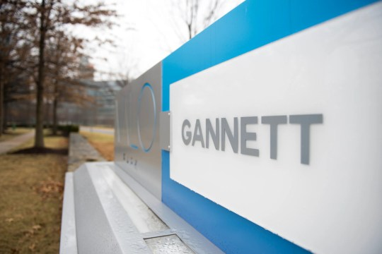 A view of a Gannett sign outside the Valo Park office building in McLean, Va., where Gannett is headquartered.