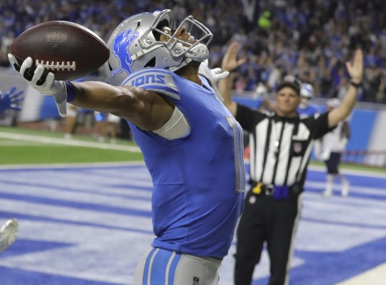 Marvin Jones, receiver of the cans, has achieved victory during the second half against the Patriots on September 23, 2018 at Ford Field.