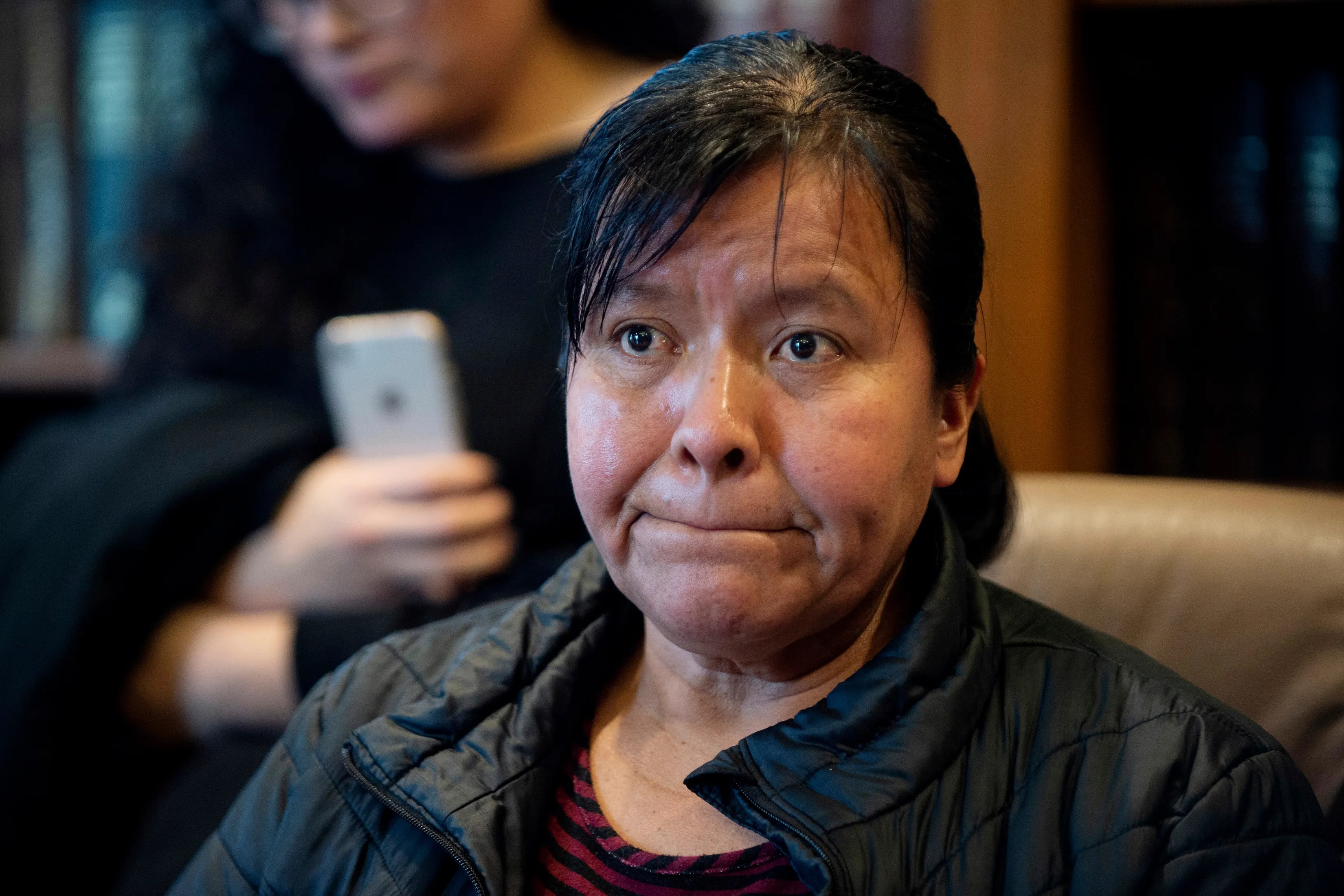 Maria Gomez speaks to the media at the office of attorney Richard Kessler in Grand Rapids, Mich., on Wednesday, Jan. 16, 2019. Gomez's son, Jilmar Ramos-Gomez, a U.S.-born Marine veteran was held for three days for possible deportation after pleading guilty to a disturbance at a western Michigan hospital.   (Neil Blake/The Grand Rapids Press via AP)
