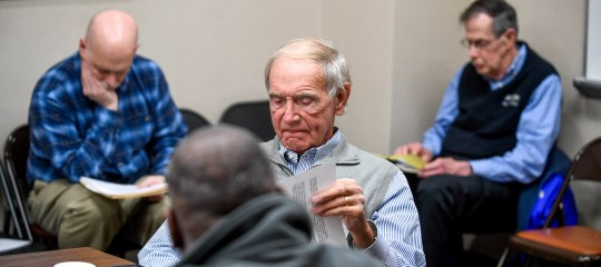 Jackson Mayor Jerry Gist reads meeting agenda notes during a city council meeting at Jackson City Hall on Jan. 31.