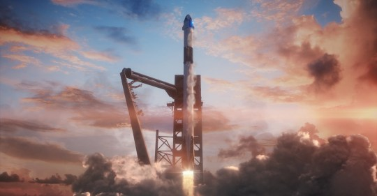 Artist rendering of a SpaceX Falcon 9 rocket and Crew Dragon capsule blasting off from Launch Complex 39A at Kennedy Space Center.