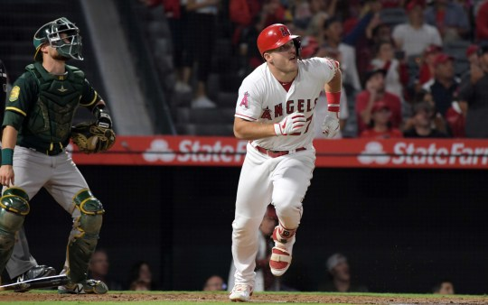 Angels center fielder Mike Trout follows his two-run home run against the Athletics at Angel Stadium of Anaheim.