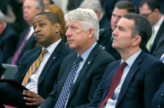 From the left, Virginia leaders Justin Fairfax, Mark Herring and Ralph Northam had to deal with the scandals.