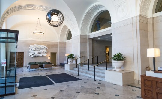 And here is the Detroit News building lobby after the Rock restoration with a more authentic original look.