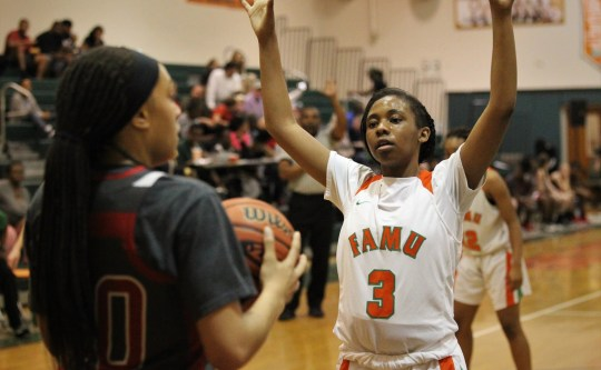 FAMU DRS junior Ashley Reddick guarded an enforcement strike when the FAMU DRS girls' basketball team beat NFC 59-41 on January 7, 2019 for a 1-3A district title.